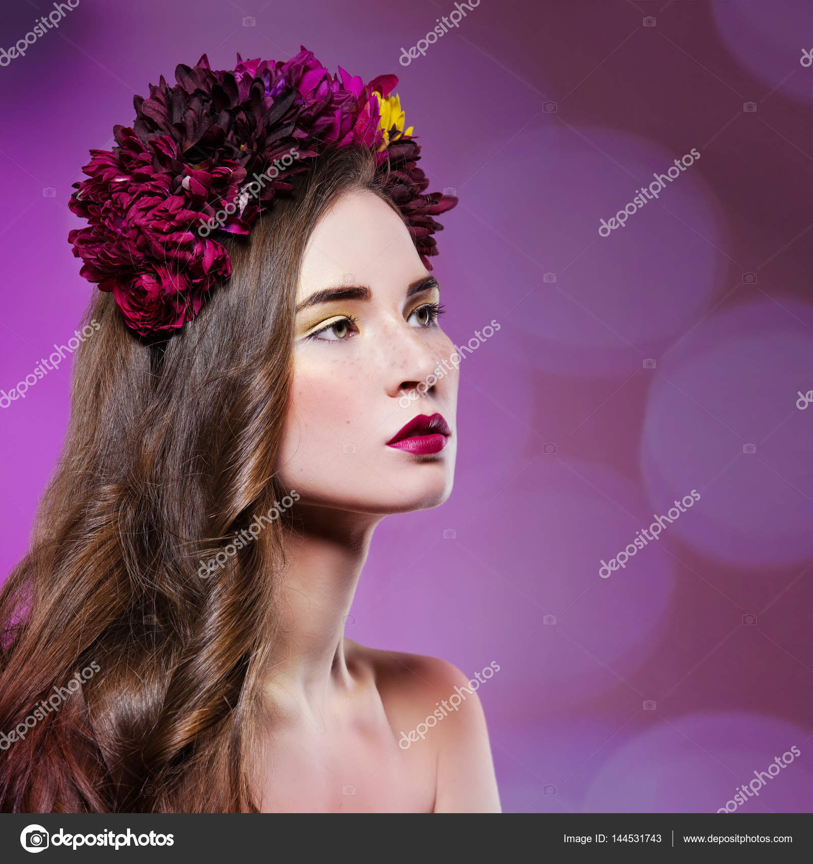 Beautiful Girl With Flowers On Head Stock Photo Svetography