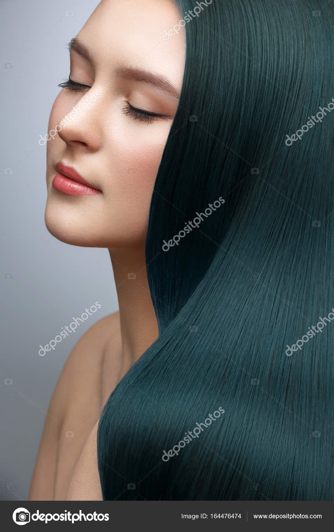 Girl With Long Dark Green Hair Stock Photo C Svetography 164476474
