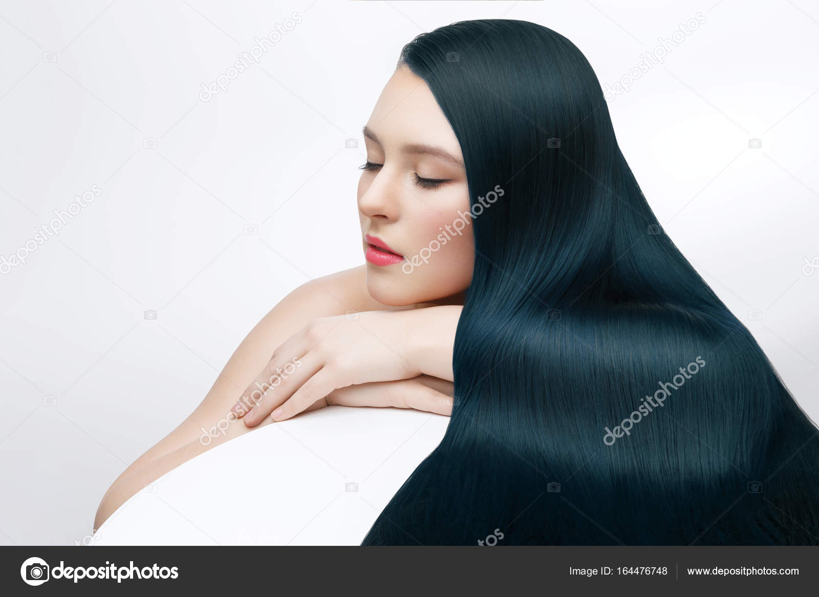 Girl With Long Dark Green Hair Stock Photo C Svetography 164476748