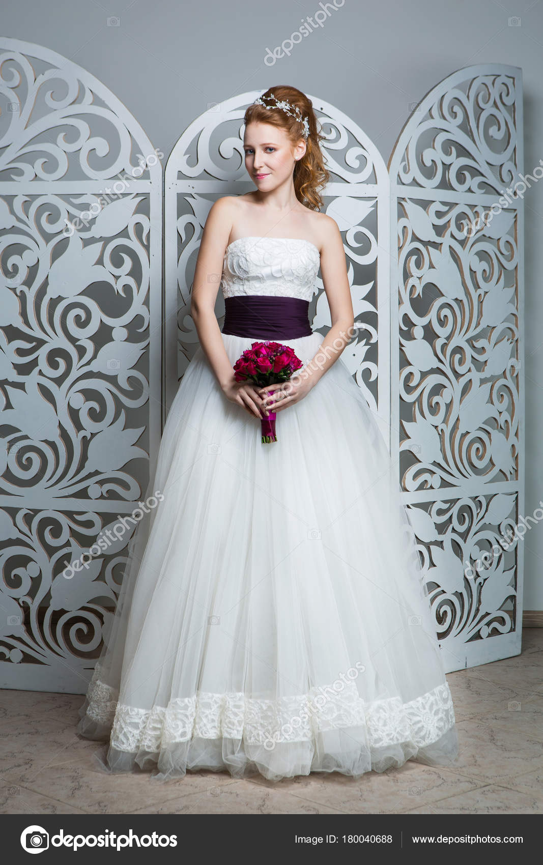 Beautiful Red Hair Young Woman White Wedding Gown Wide Dark — Stock ...