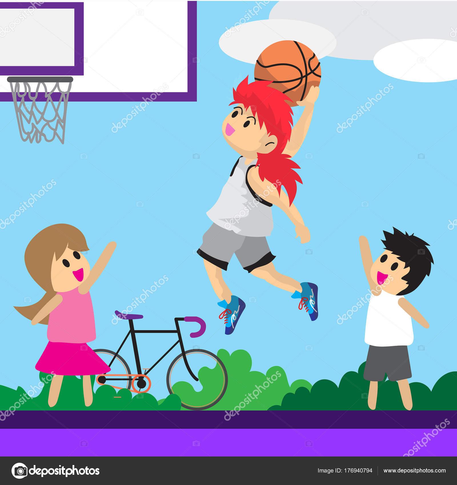 Ragazzo Gioca Carattere Disegno Fumetto Arte Basket Basket Fondo
