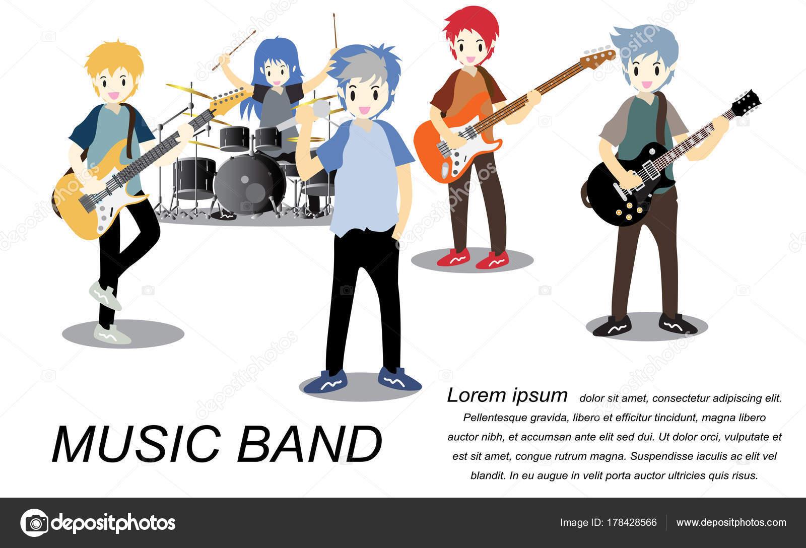 ロック グループのミュージシャン ギター ギタリスト ドラマー 一人