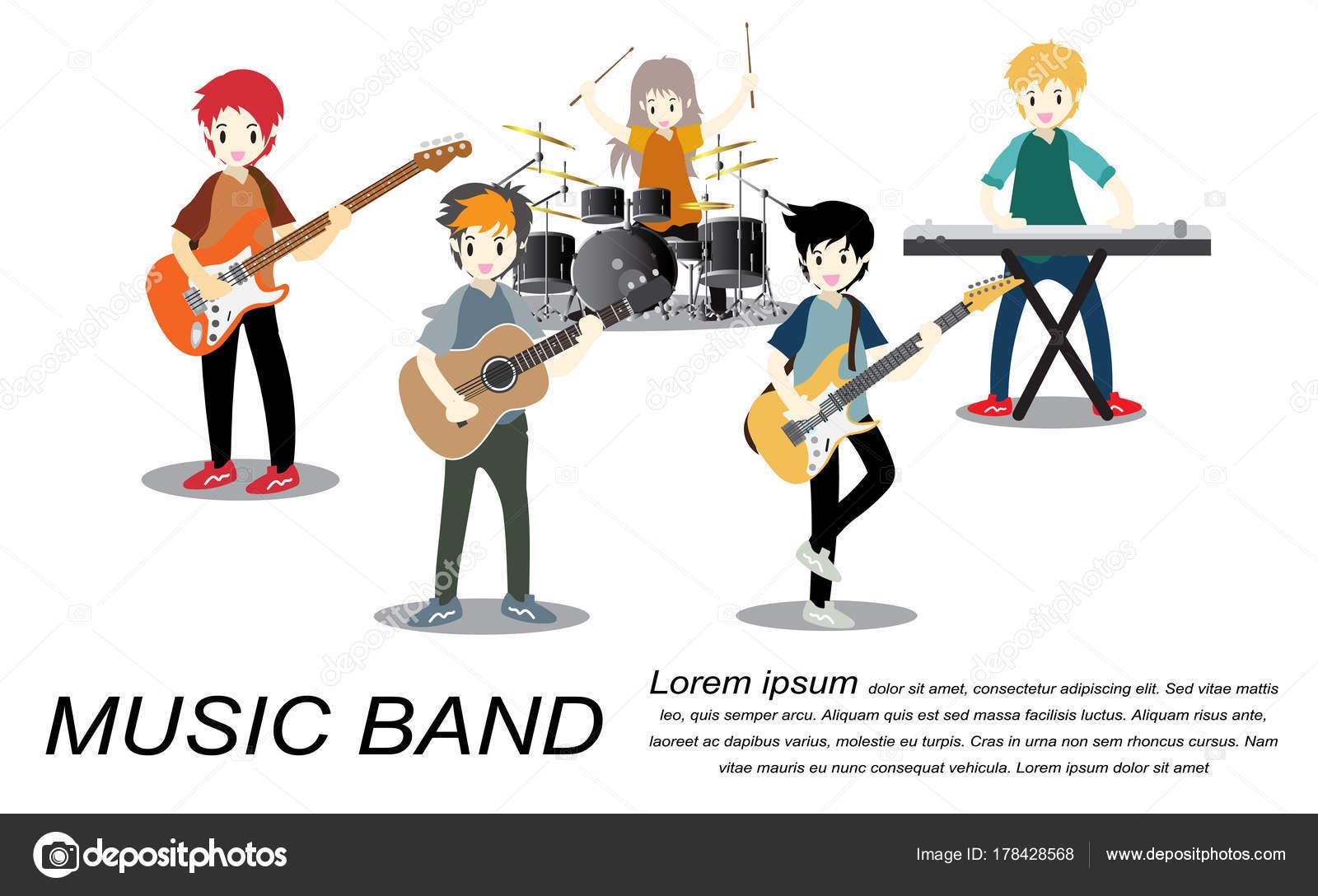 Fotos Bandas De Rock Vectorizadas Grupo Músicos Rock Juego