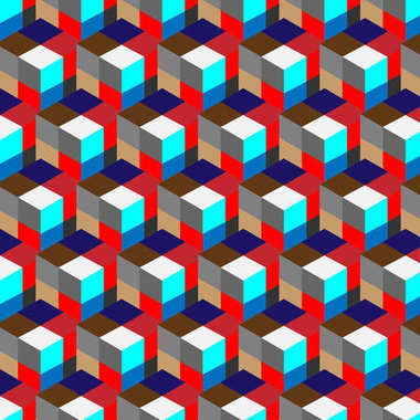 seamless, abstract cube pattern. Colorful design, geometric 3d vector wallpaper, cube pattern background.