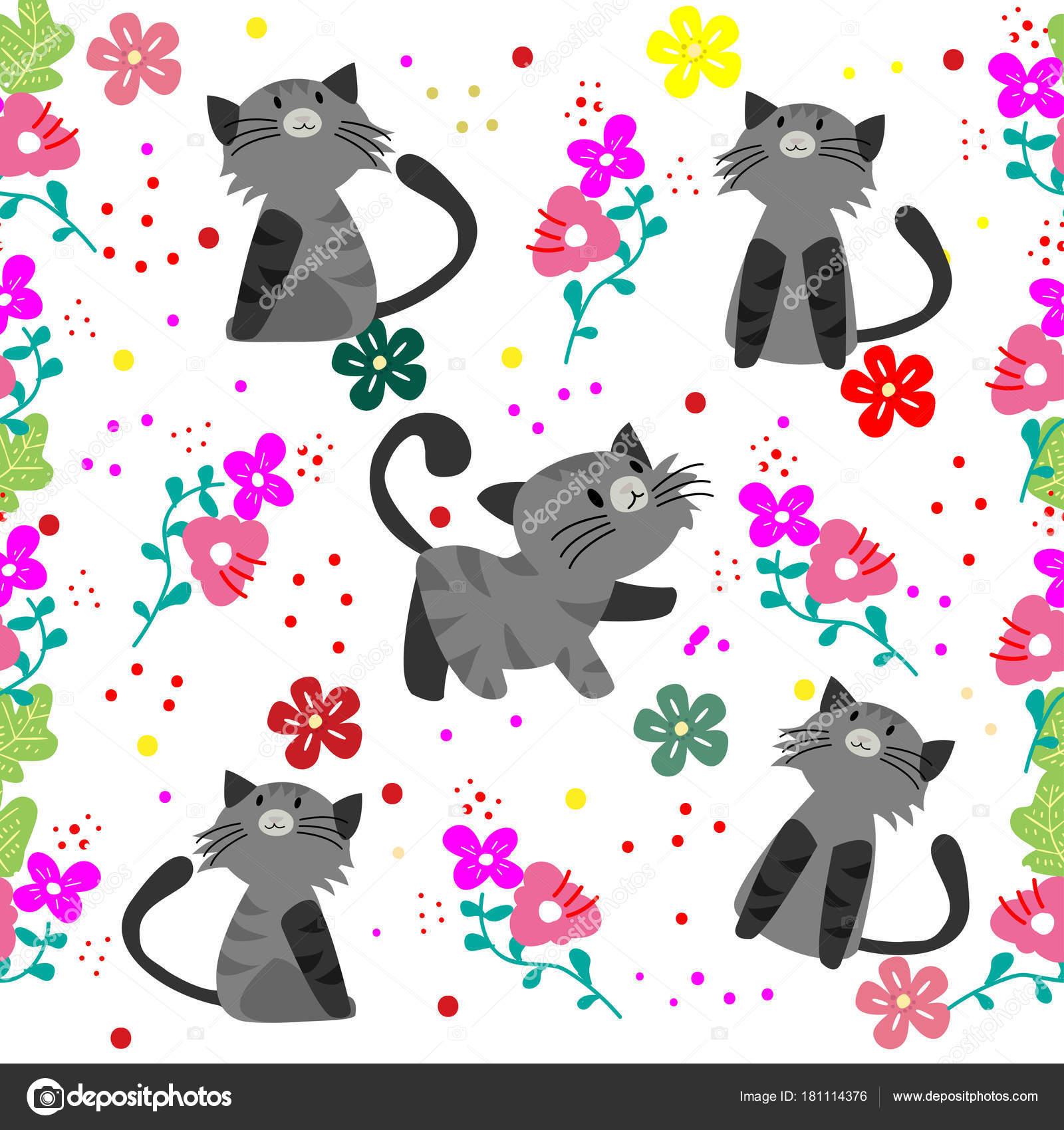Lindo Gato Sem Costura Padrão Com Flores Sobre Fundo Colorido ...