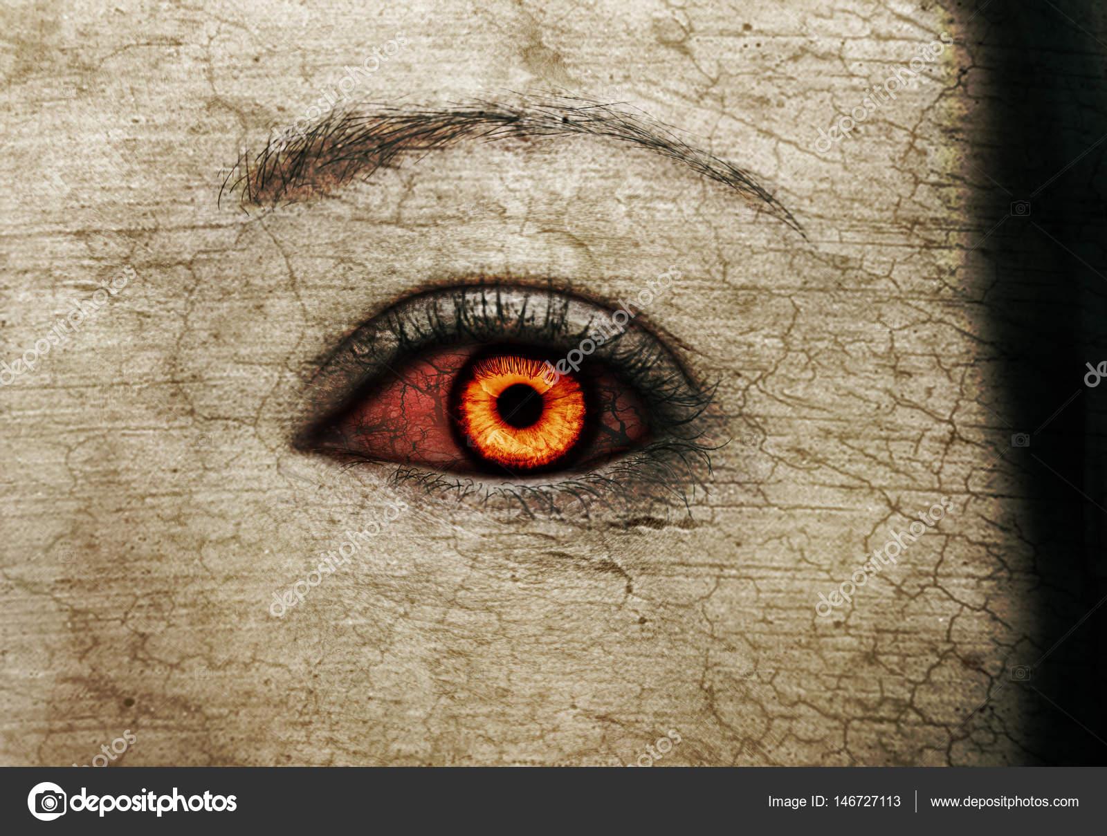 Evil Bloody Female Zombie Eyes Dirt Make Up Macro Halloween Theme