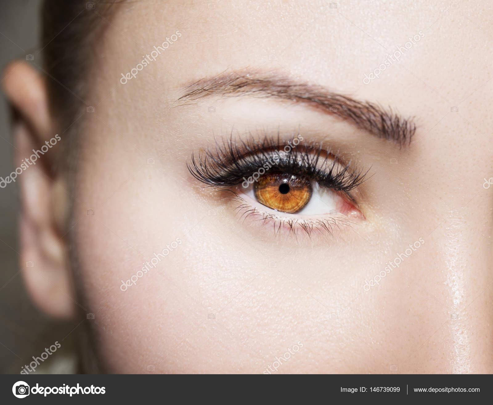 Braune Augen Make Up Schöne Augen Make Up Detail Stockfoto