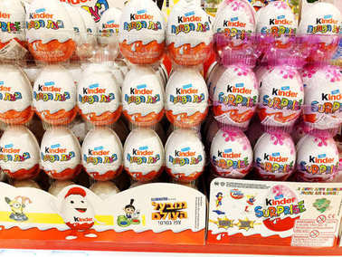 RISHON LE ZION, ISRAEL- DECEMBER 29, 2017: Kinder Surprise chocolate egg with a small toy inside sold in the store.