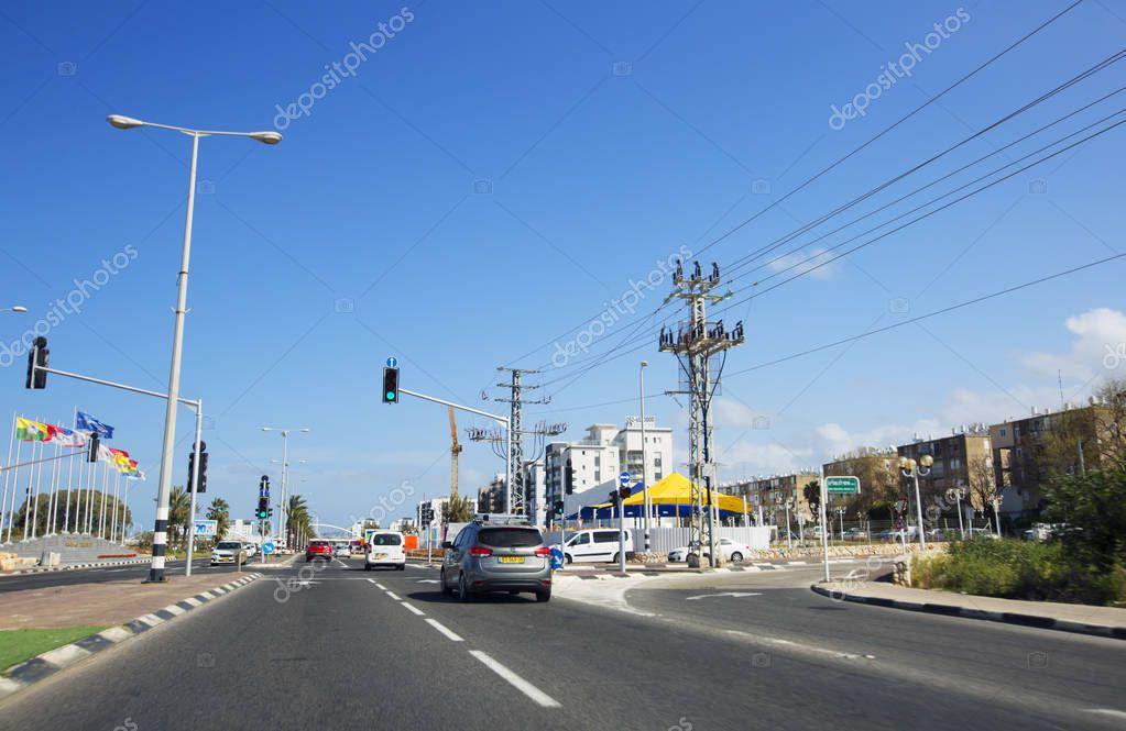 NAHARIYA, ISRAEL-MARCH 9, 2018: Street in the center of Nahariya, Israel
