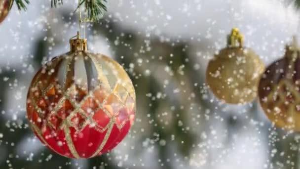 Vánoční přání s dekoracemi. Červené a zlaté koule na zasněžený strom.