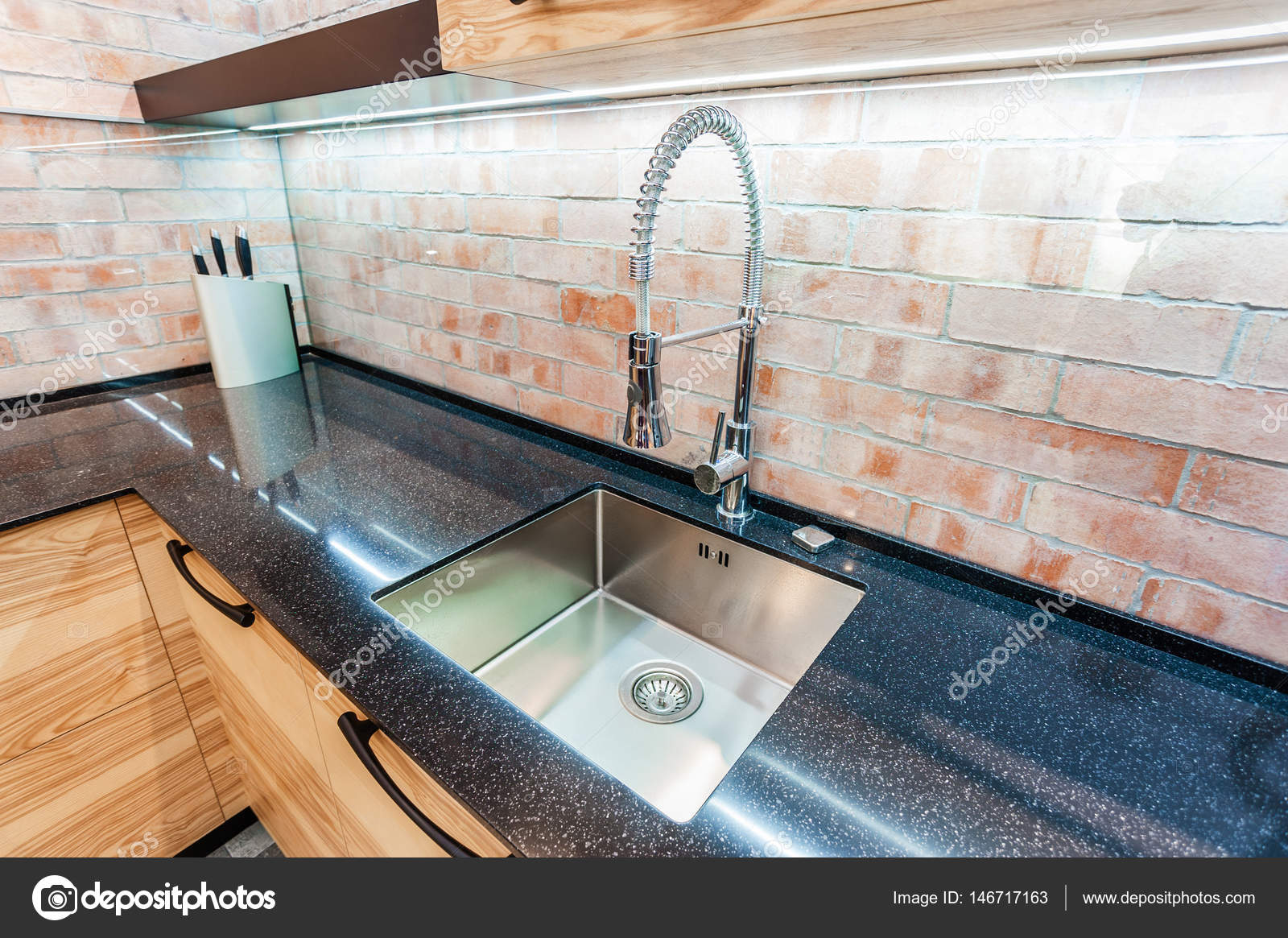 Modern Kitchen Sink And Chrome Faucet Stock Photo Fly_wish