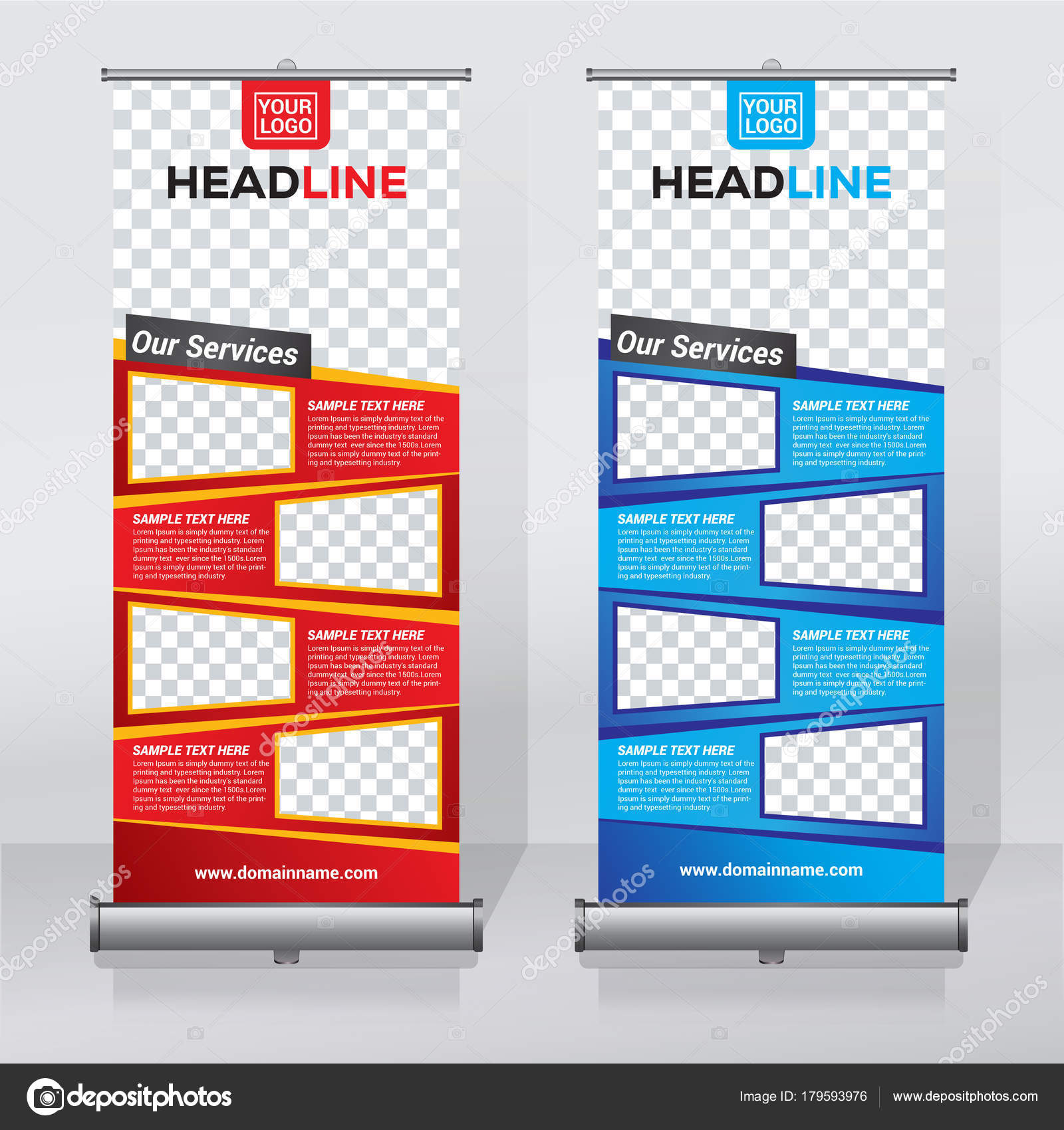 roll banner design template abstract background pull design modern