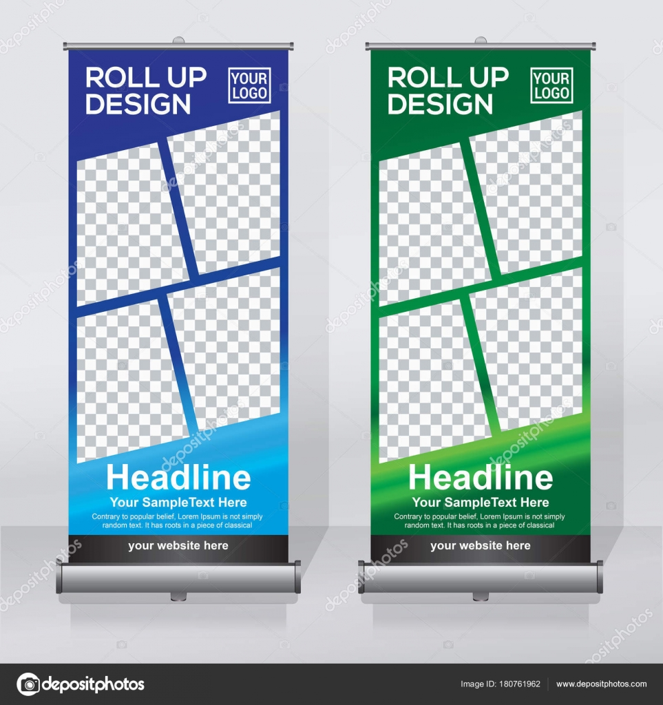 Roll Banner Design Template Vertical Abstract Background Pull Design - Retractable banner template