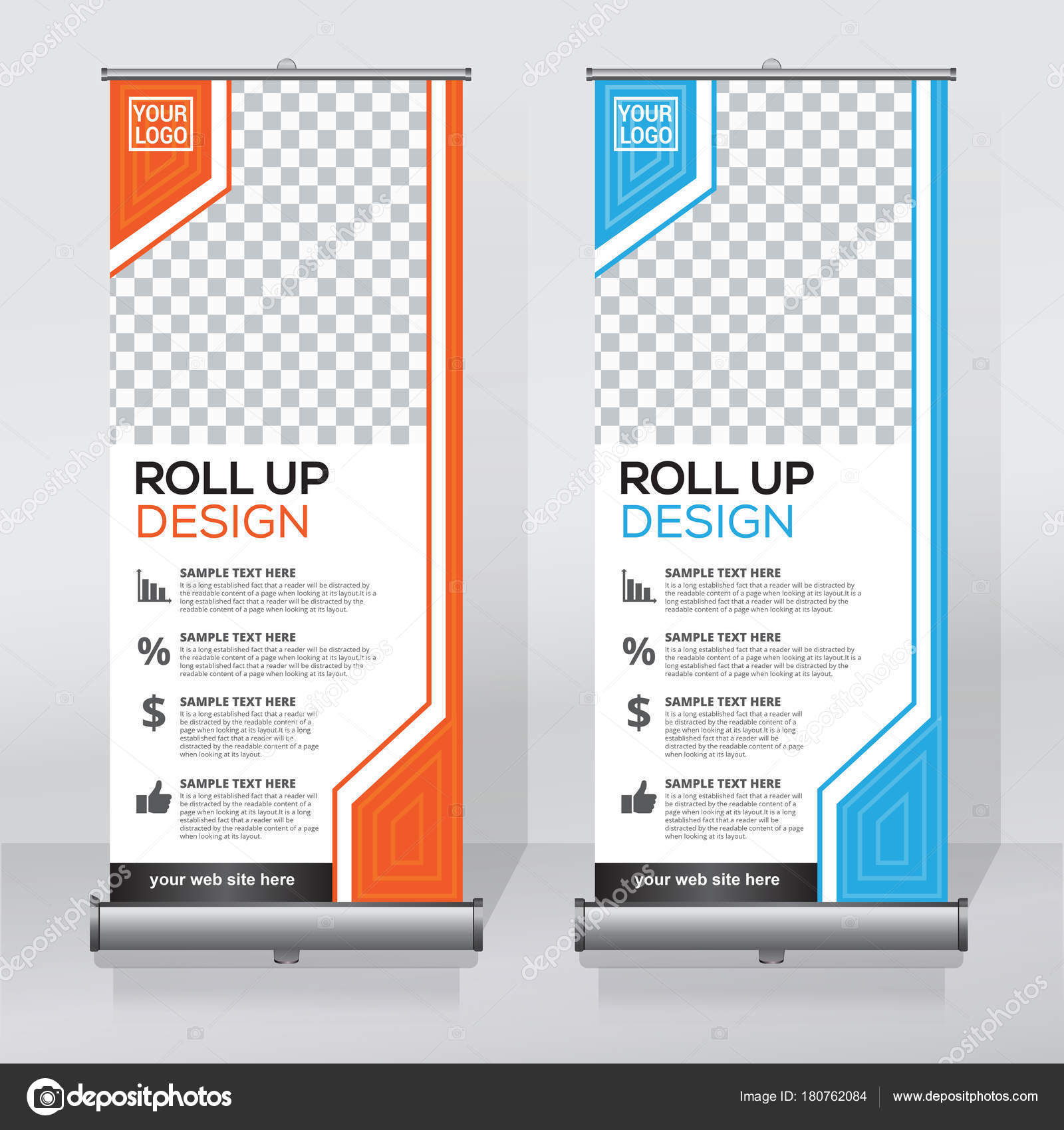 roll banner design template vertical abstract background pull design
