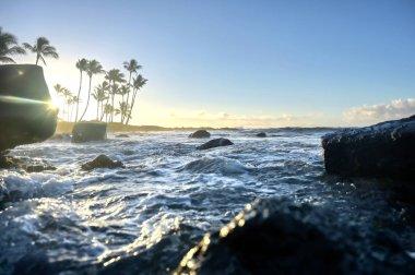 The sunrise over the beach in Kauai, Hawaii