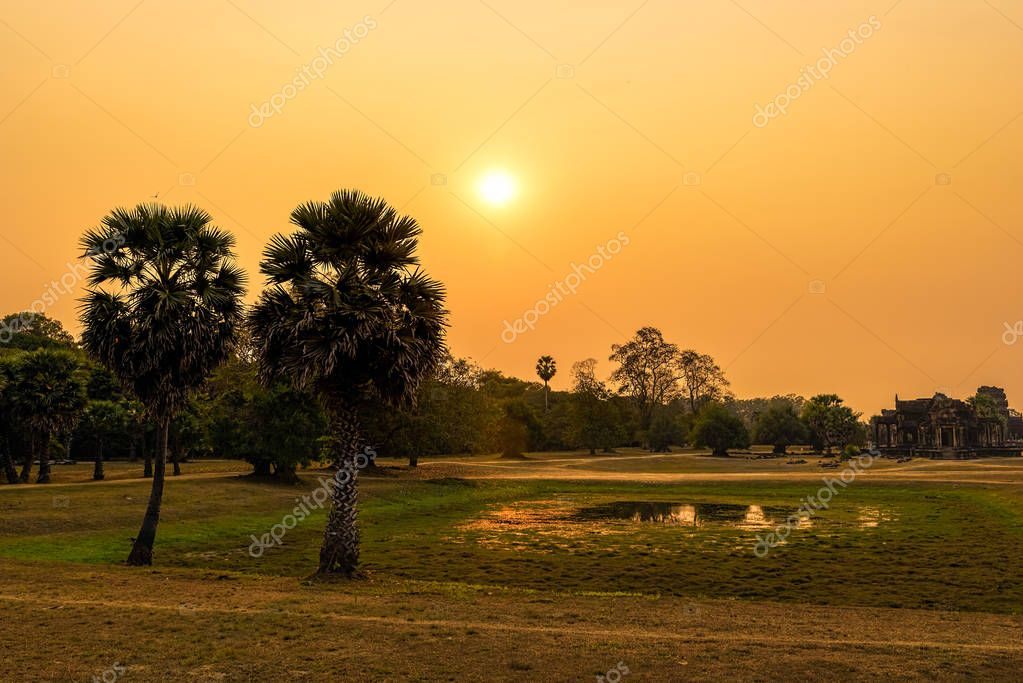 Sunset in Angkor Archeological Park in Seam Reap Cambodia