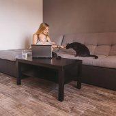 Fotografie Lächelnde Mutter und niedlichen Kind Kind Blick auf schwarze Katze auf Sofa sitzen und Laptop verwenden