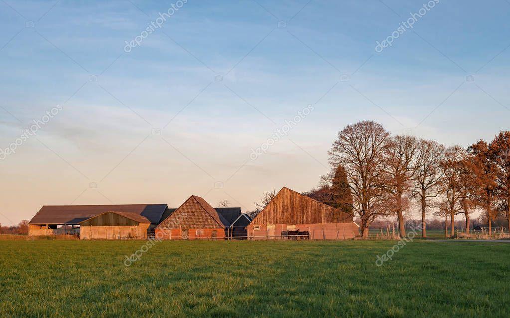 barns in rural autumn landscape