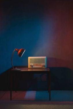 Vintage radio in evening interior