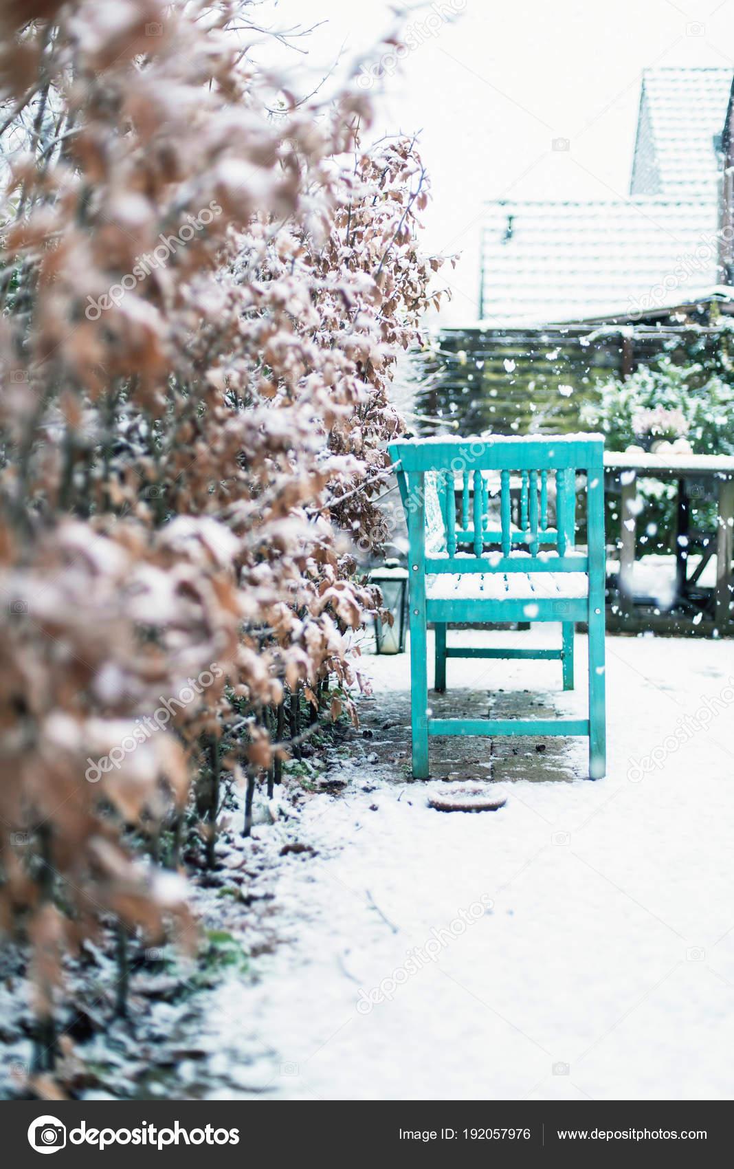 Banco de madera azul en el jardín cubierto de nieve — Foto de stock ...