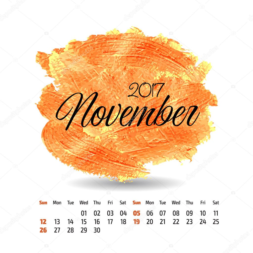 2017 year vector calendar on artistic paint splashes background ...