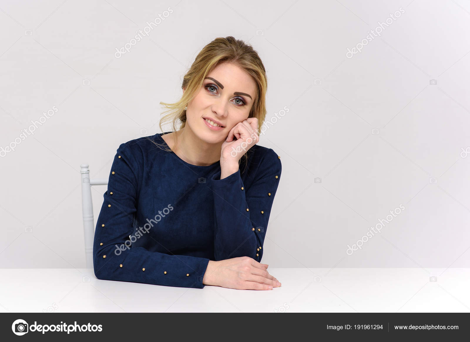 Beautiful Girl Sitting Table Different Poses Stock Photo Image By C Govorkov 191961294