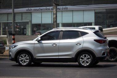 Chiangmai, Thailand - March  24 2020: Private Suv Car MG ZS. Product from British automotive. On road no.1001, 8 km from Chiangmai city.