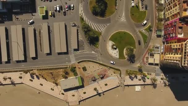 View from the air to the beach, sea, shopping center on a sunny and windy day in Alboraya, Valencia.
