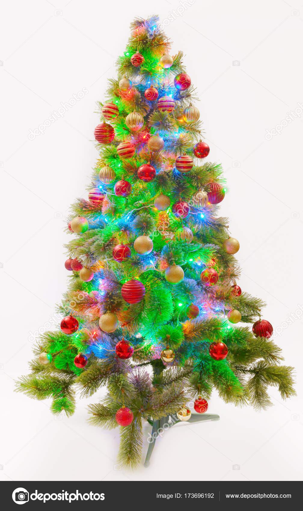 versierd kerstboom met led verlichting stockfoto