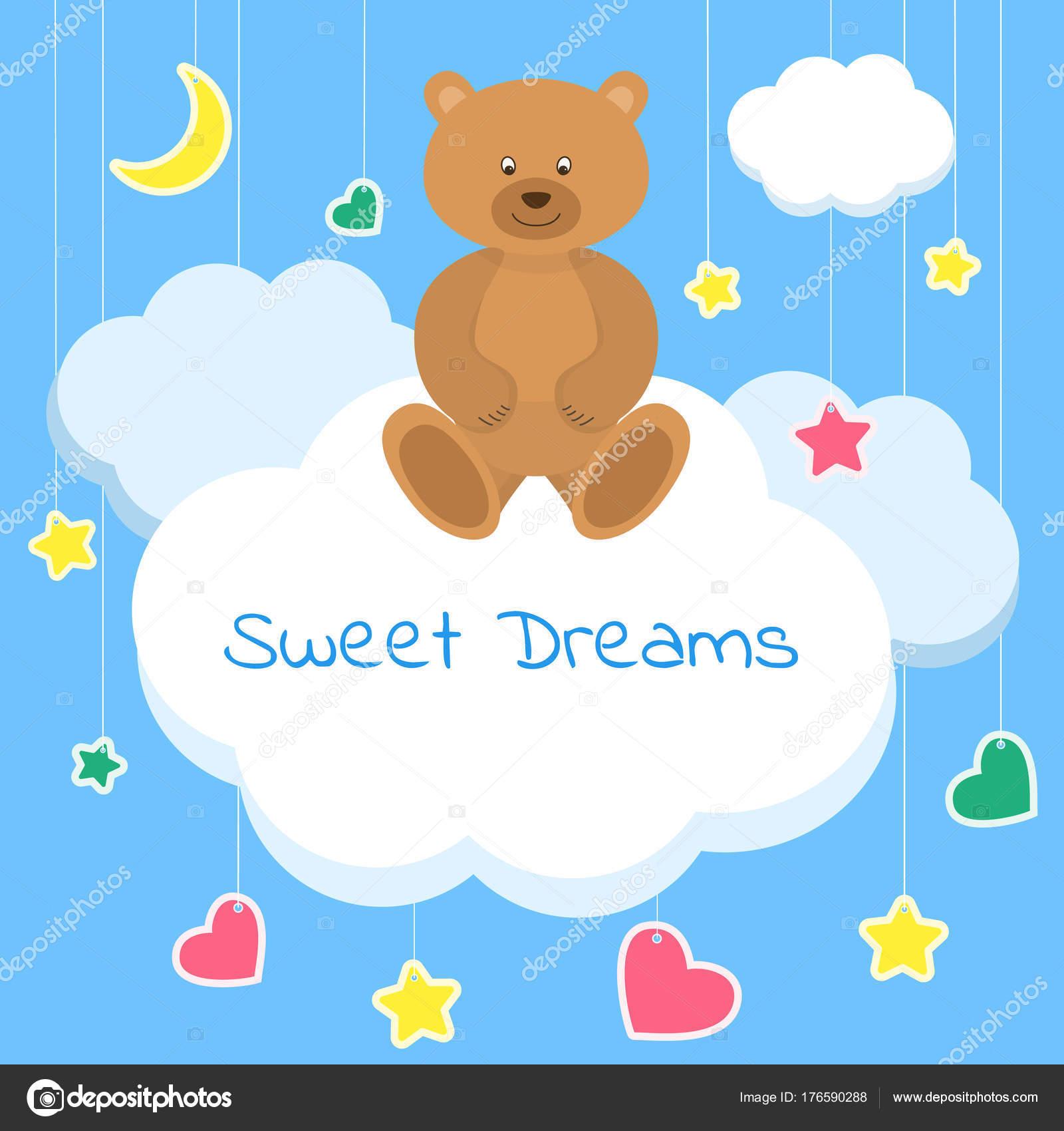Schöne Poster Für Baby Rooms Oder Schlafzimmer. Kinder Hintergrund Mit Mond  Sterne Cartoon Blaue Und Weiße Wolken U2014 Vektor Von Lubahk90@gmail.com
