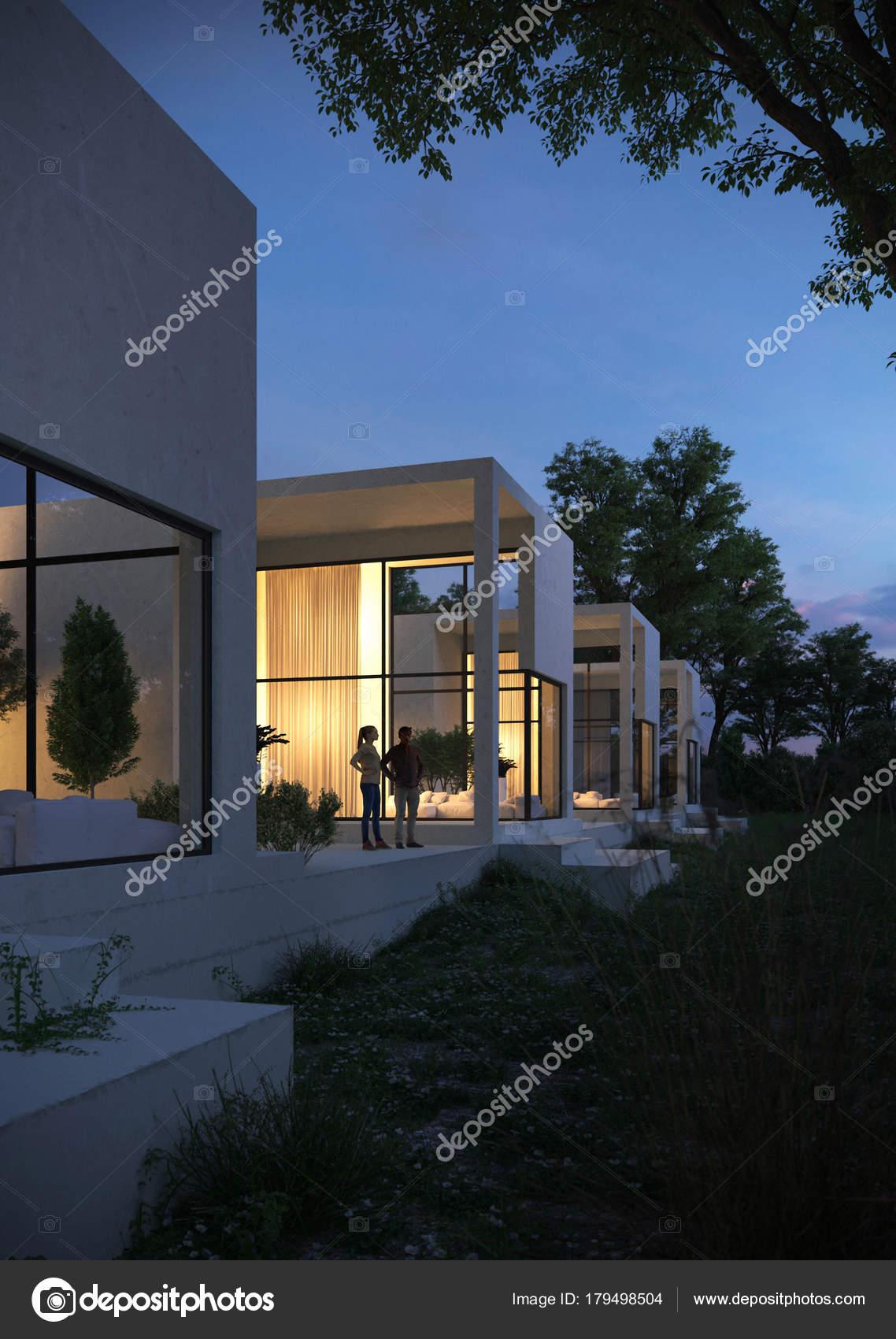 Moderne Architektur Der Weissen Beton Baumen Und Einem Teich Stockfoto