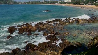 Tropical Beach And Exotic Lagoon View / Ocean waves, amazing luxury lagoon view, beautiful nature in Sri Lanka