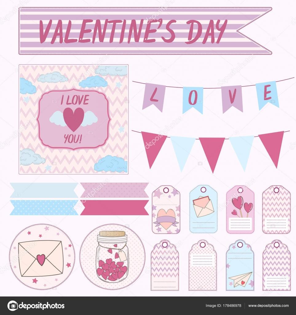 Vektor-Design set Elemente für ein Geschenk am Valentinstag ...