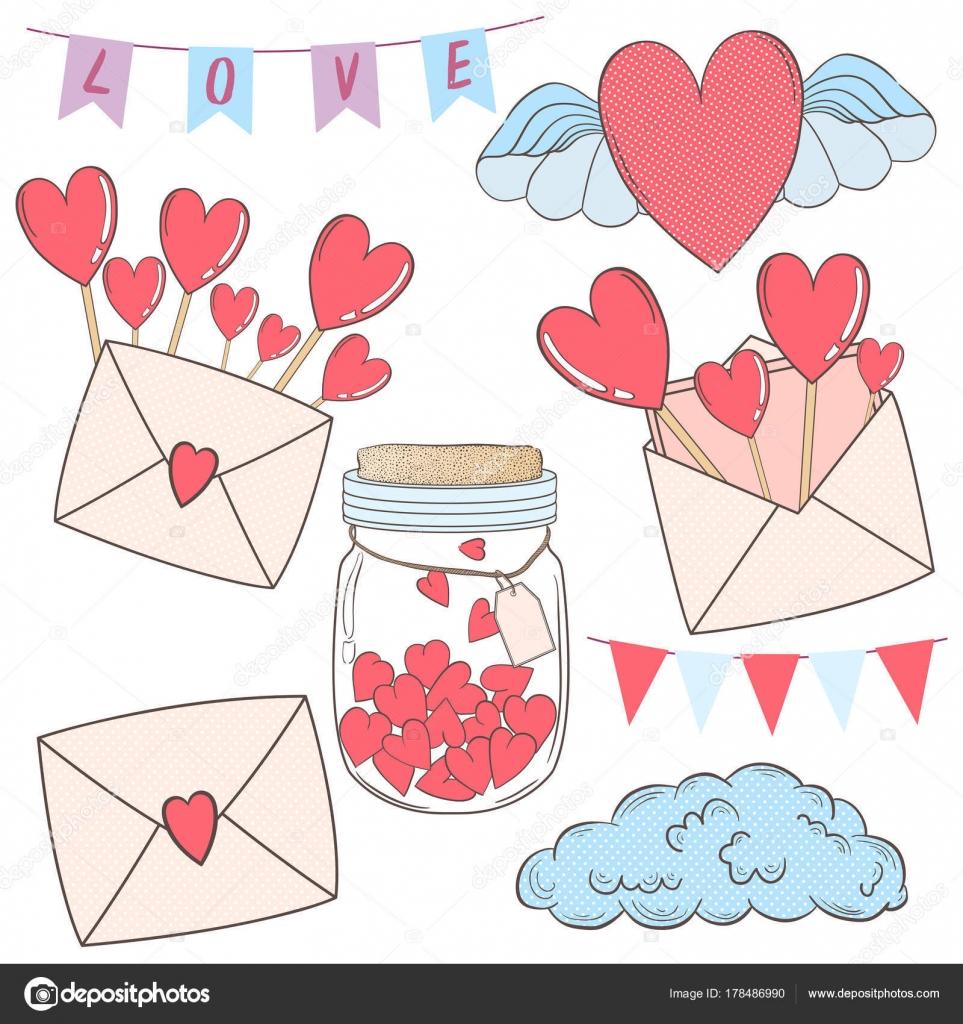 Vektor setzen Design-Elemente für ein Geschenk am Valentinstag ...