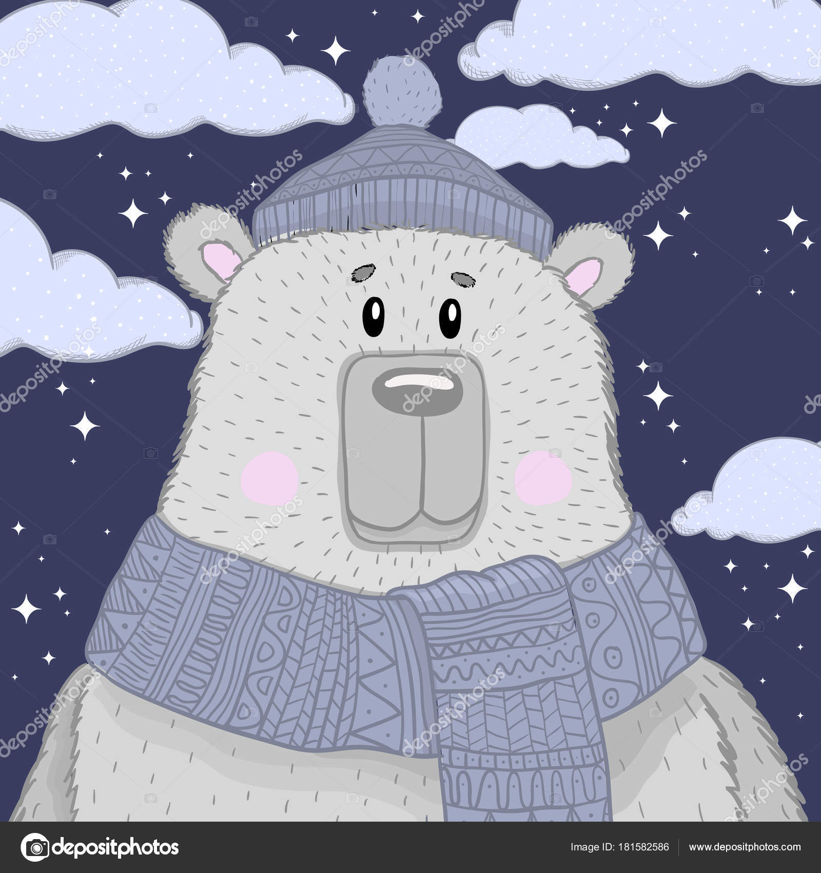 77a155d511 Μου μικρή αρκούδα κασκόλ και καπάκι. Τα παιδιά του γραφικού. Διάνυσμα χέρι  συρμένη απεικόνιση