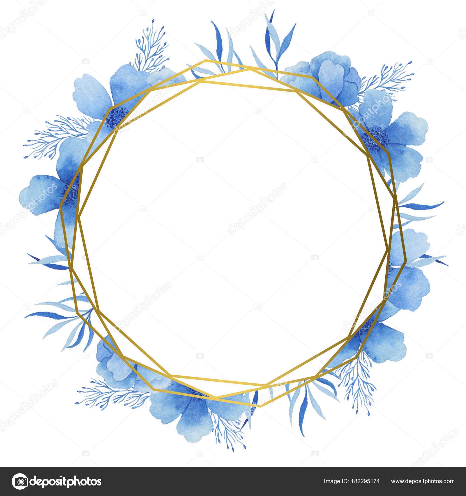 Goldrahmen mit blauen Aquarell-Farben. Geeignet für ...