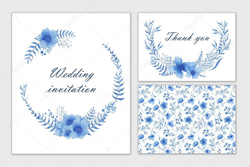 Set of wedding cards with blue flowers. Watercolor hand draw. Invitation, postcard.