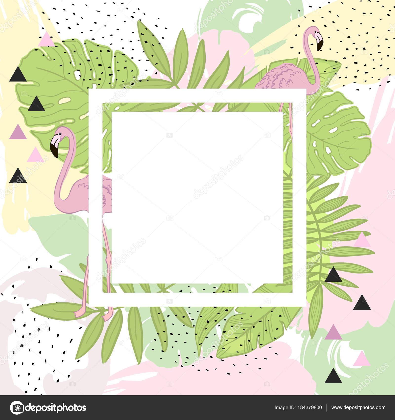 Folhas Tropicais E Flamingo Verão Bandeira Do Frame Fundo Gráfico