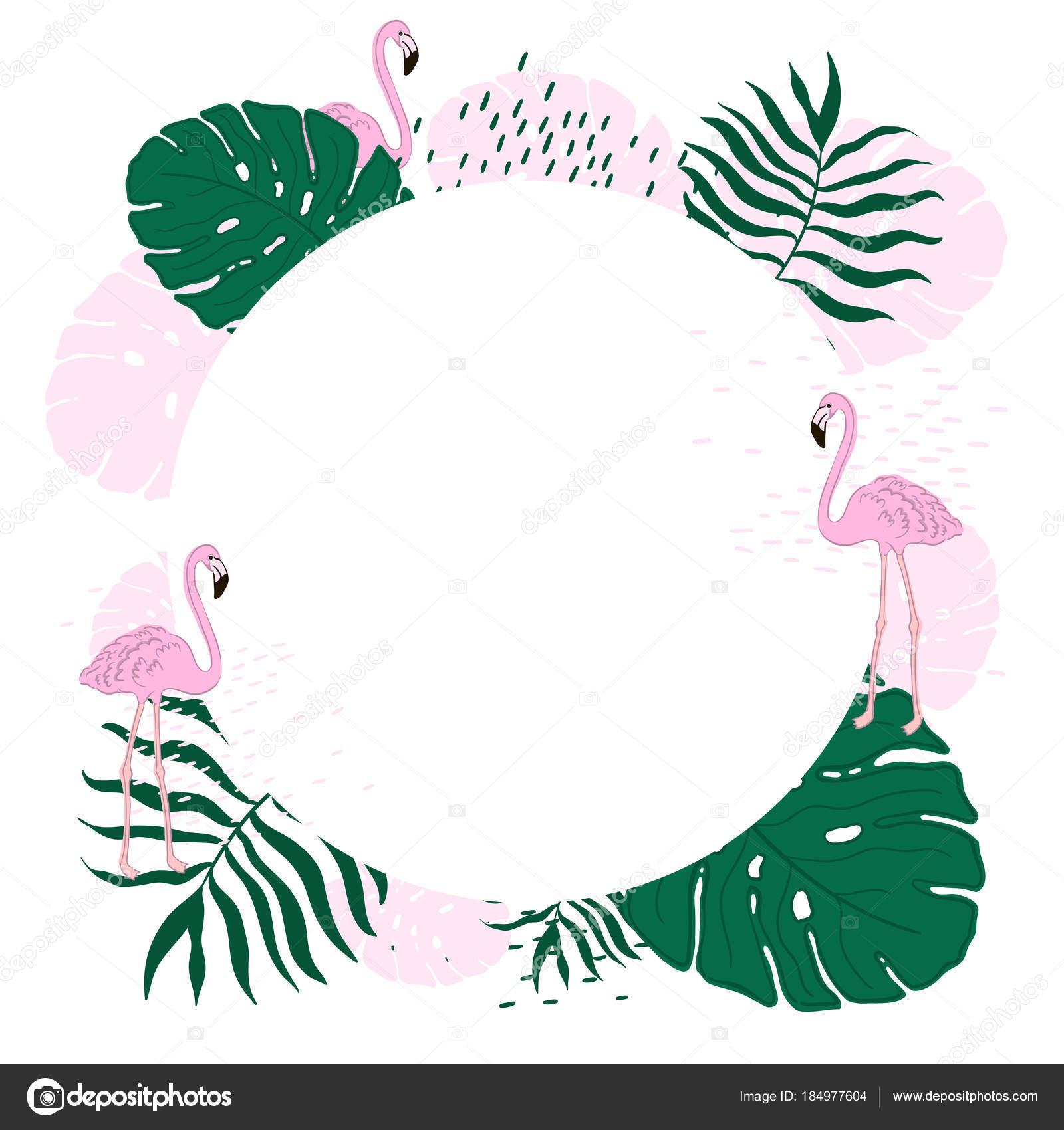 Quadro Tropical Círculo Folhas E Flamingo Verão Banner Fundo