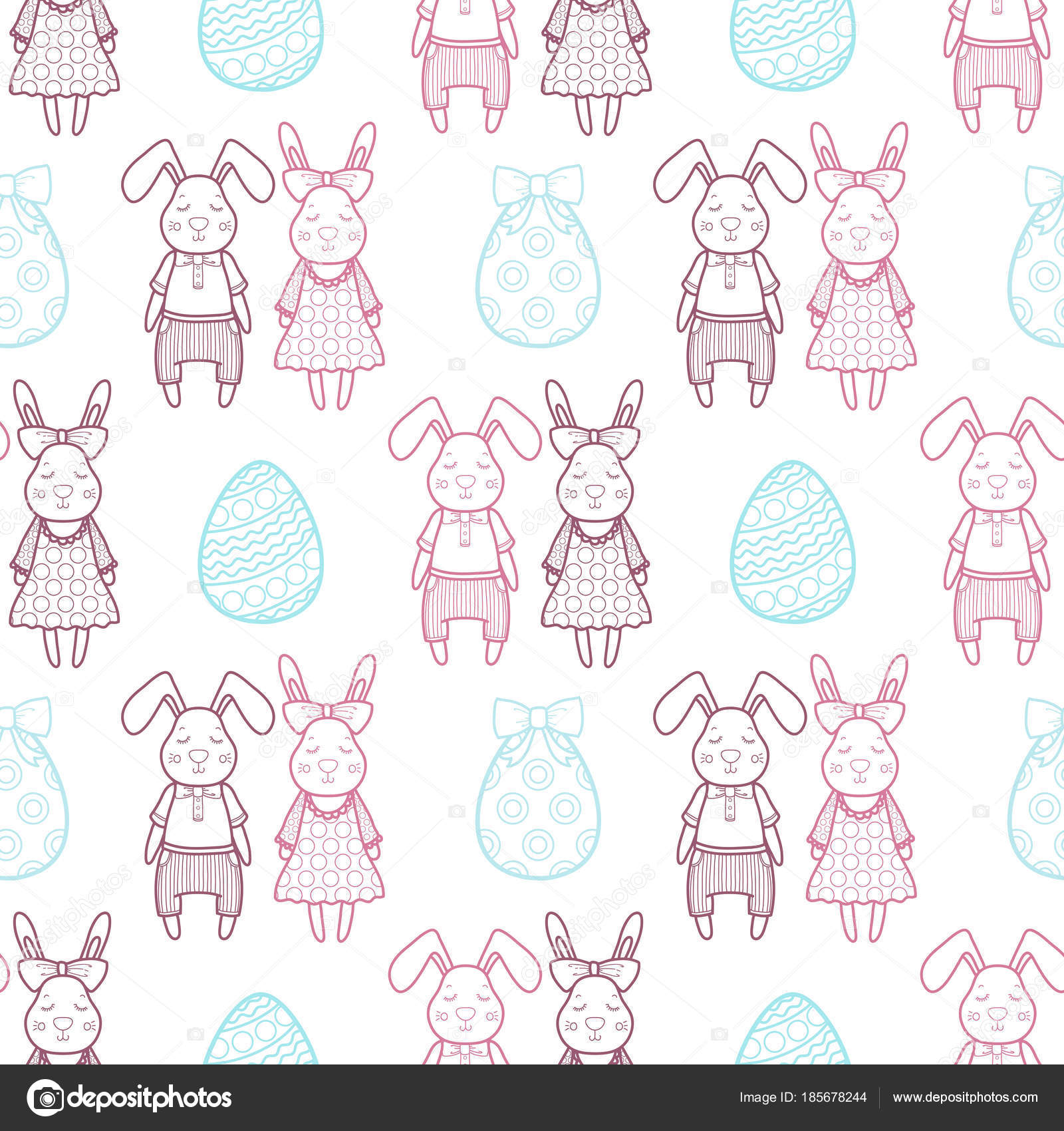 Decorative vector pattern for a holiday Easter  Rabbits girl