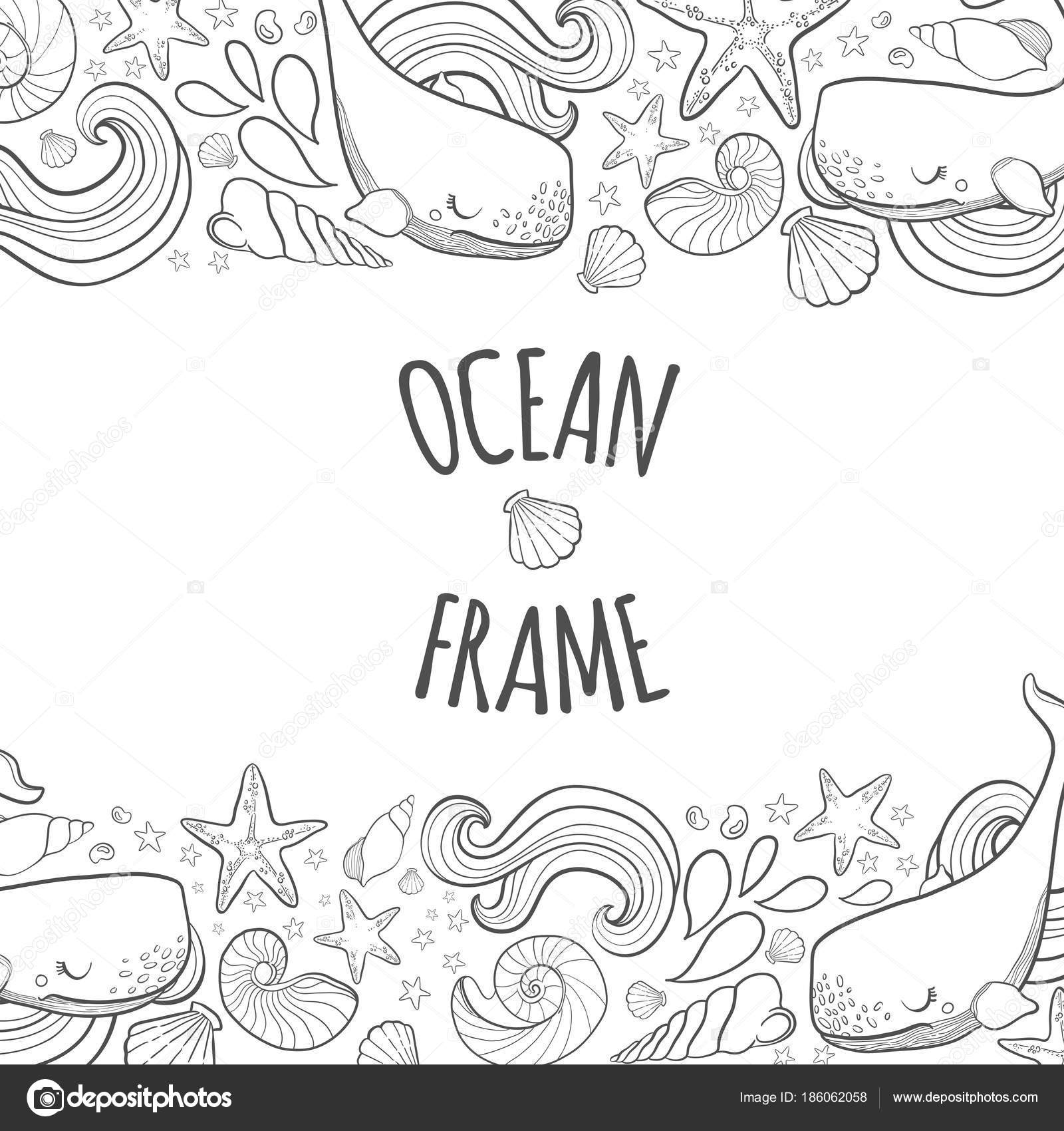 Graphic Frame Whales Flying In The Sky Sea And Ocean Creatures Coloring Book Page