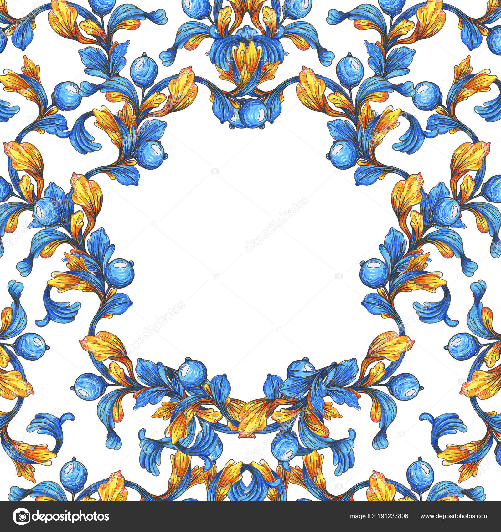 Floral Frame Border Wallpaper Baroque Watercolor Blue White