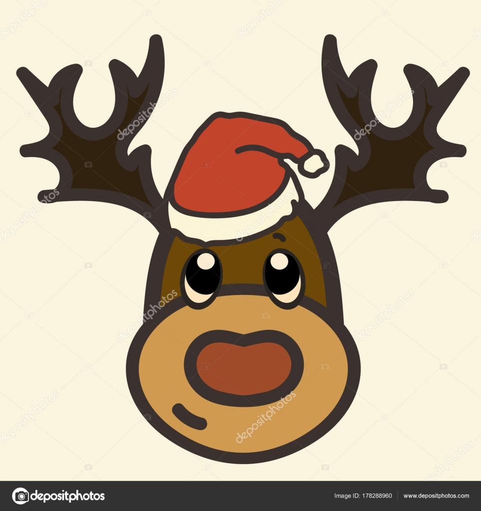 Cerf Pere Drole Tete Image Vecteur Dessin Anime Rudolf Dans Image