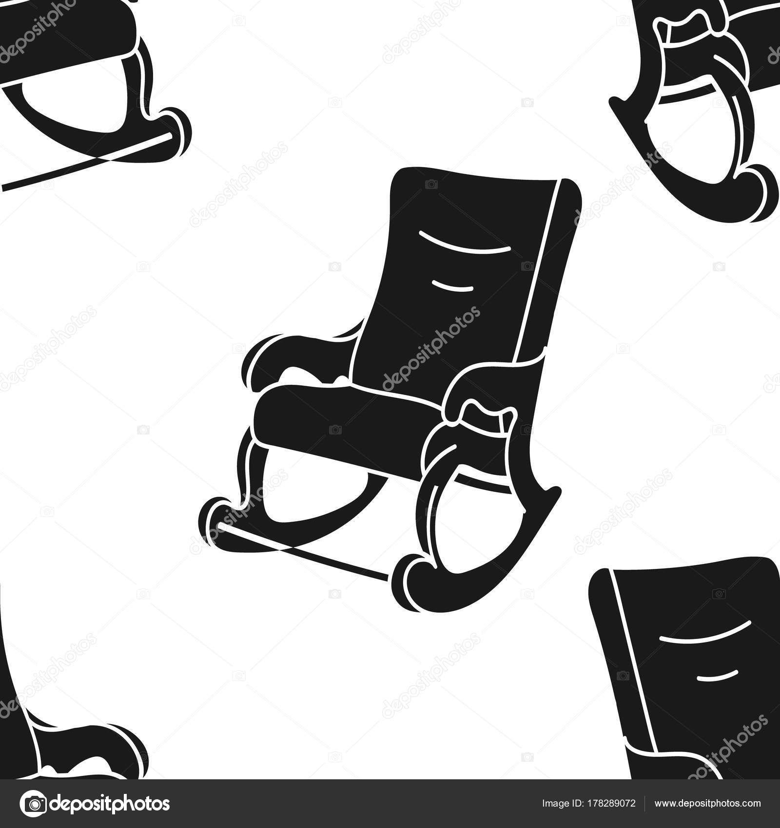 Rocking Chair Print In Minimal Flat Style, Simple Pattern With Black  Silhouette Of Rocker. Homeliness Atmosphere. Comfortable Chair. U2014 Vector By  Anna_1161