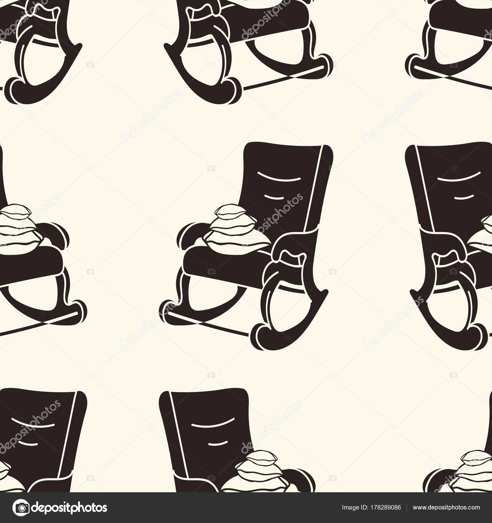 Rocking Chair With Pillows Vector Seamless Pattern. Rocking Chair Print In  Minimal Flat Style, Simple Pattern With Black Silhouette Of Rocker.