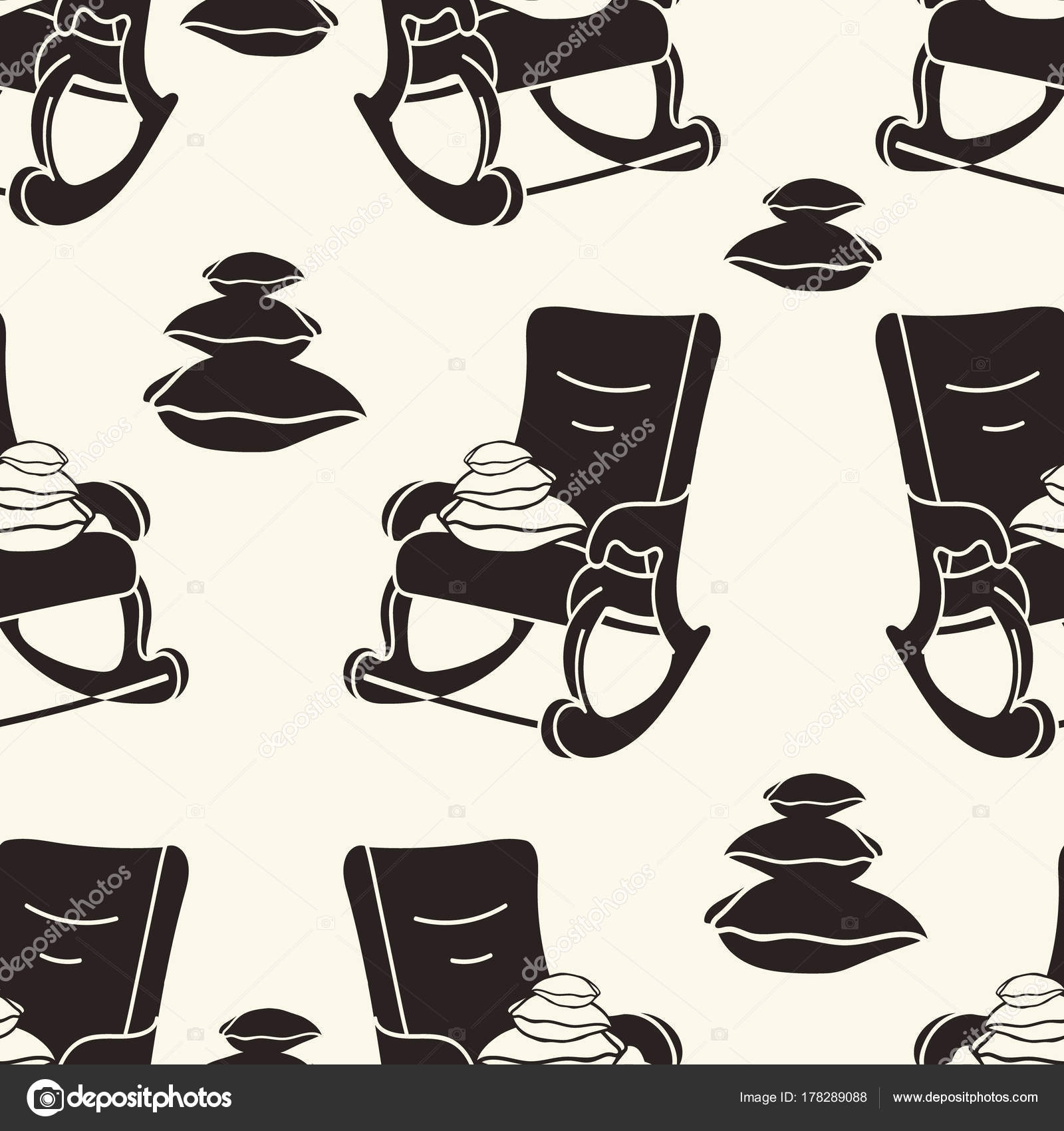 Rocking Chair Pillows Vector Seamless Pattern Rocking Chair Print Minimal U2014  Stock Vector