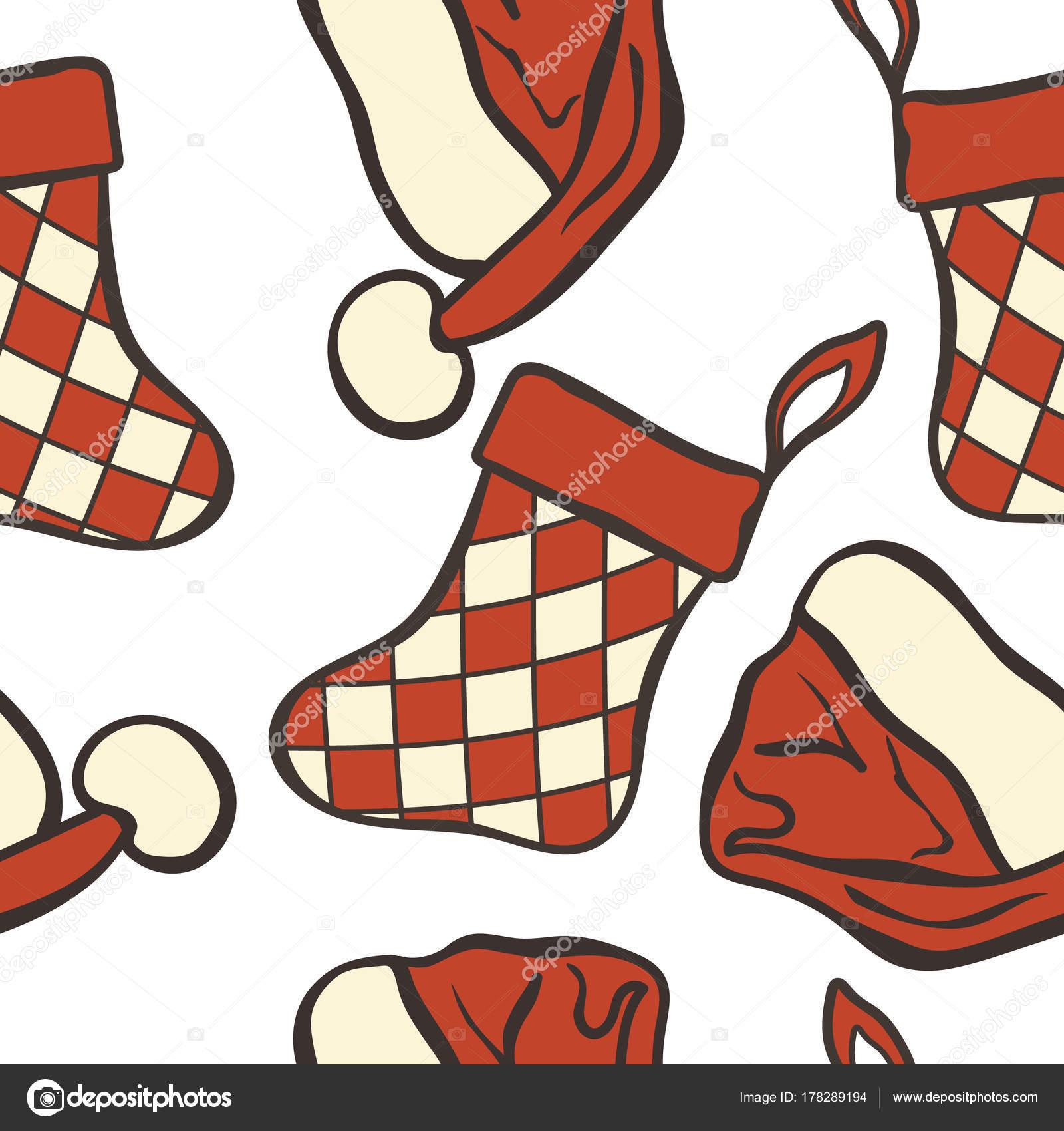Navidad Gorro Calcetines Patrones Sin Fisuras Aislados Blanco Feliz ...