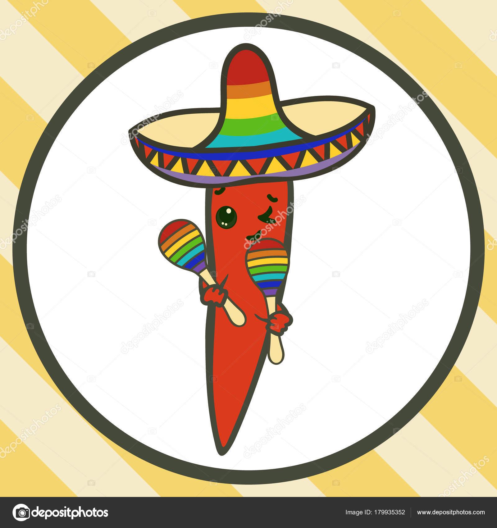 Ají de vector en sombrero con maracas aislado en blanco. Dibujos animados  de Chile. Concepto de feliz Cinco De Mayo. Símbolo de la comida mexicana f6d9c289f4e