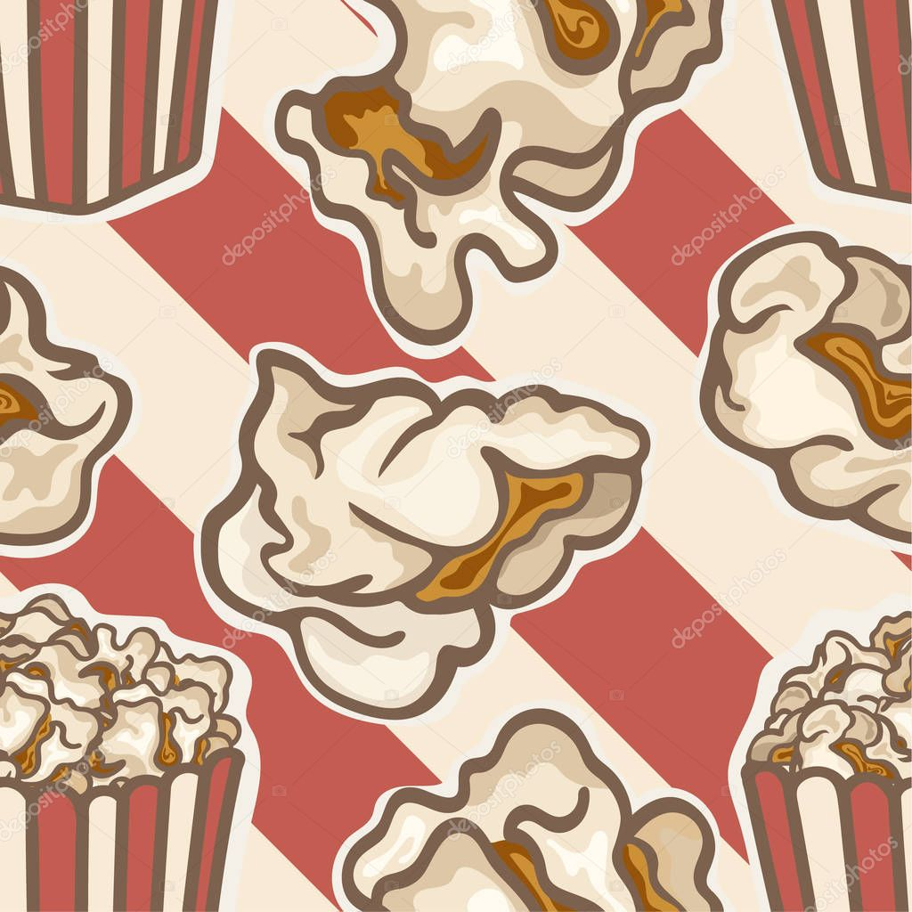 Popcorn In A Red Striped Bucket Box Vector Seamless Pattern Isolated On Striped Background Popcorn Popping Red White Strip Box Cinema Movie Night Icon Pop Corn Kernels Snack For Movie Premium