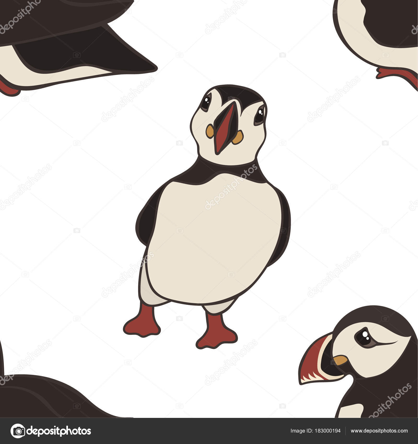 Vector Seamless Pattern Hand Drawn Atlantic Puffins Isolated White ...